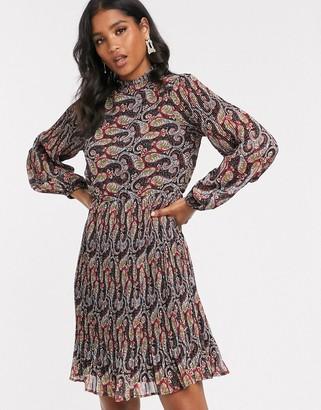 Y.A.S high neck paisley mini dress