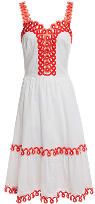 Temperley London Boheme Flared Embroidered Gathered Cotton-poplin Dress