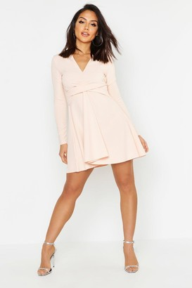 boohoo Long Sleeved Plunge Neck Skater Dress