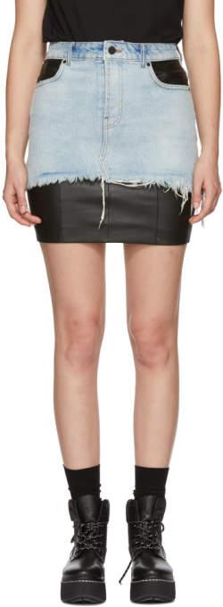 Alexander Wang Black Leather and Denim Hybrid Moto Skirt
