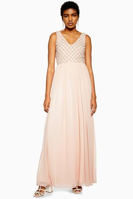 Womens **Nude Embellished Maxi Dress By Lace & Beads - Nude