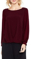 Vince Camuto Women's Long Sleeve Foldover Mix Media Blouse