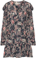 Etoile Isabel Marant Jedy Ruffle-trimmed Printed Georgette Mini Dress - Gray