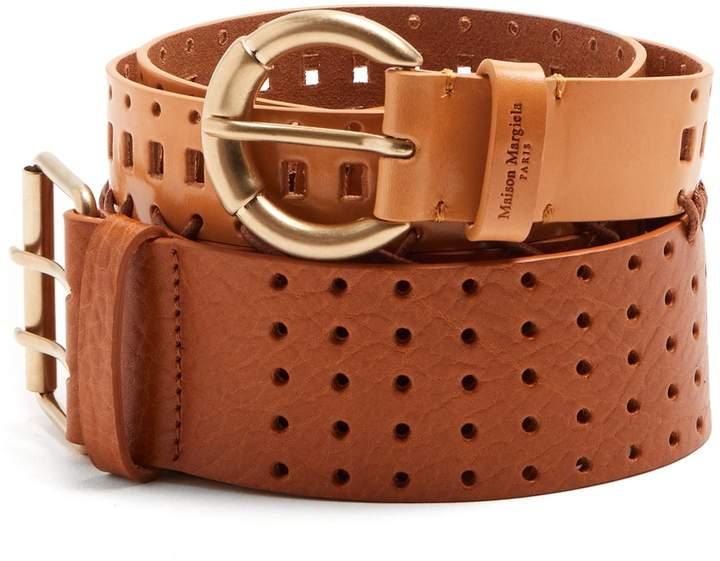 Maison Margiela Perforated double leather belt