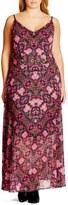 City Chic 'Dream Weaver' Belted Print Maxi Dress (Plus Size)