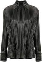 Pierre Balmain chest slit high neck blouse