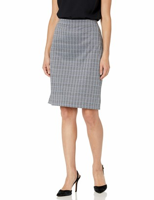 Nine West Women's Plaid Slim Pull ON Skirt
