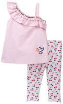 Betsey Johnson Pink Chambray One Shoulder Top & Capri Leggings Set (Toddler Girls)