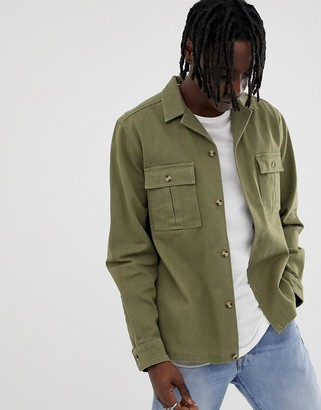 Asos Design DESIGN overshirt in khaki with double pockets-Green