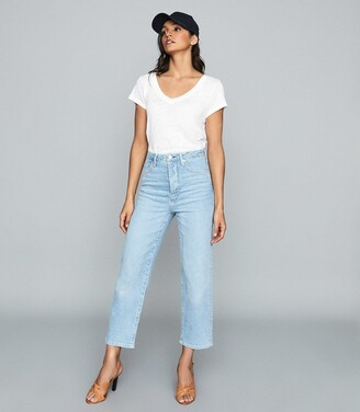 Reiss Annie - High Rise Straight Leg Jeans in Pale Blue