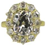 18K Yellow Gold 4.67ct Diamond Wedding Cluster Ring Size 6.5