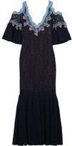 Peter Pilotto Crochet-trimmed Stretch-lace Midi Dress - Navy