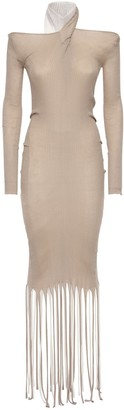 Bottega Veneta Fringed Rib Knit Cotton & Silk Dress
