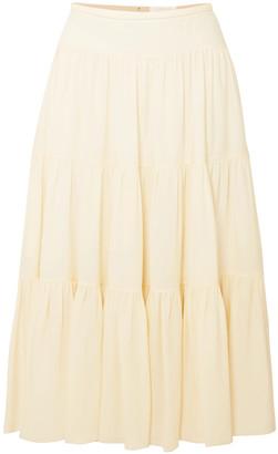 Chloé Tiered Crepe Midi Skirt