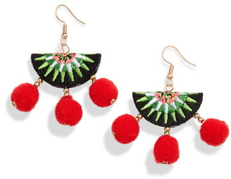 Knotty Embroidered Pompom Earrings