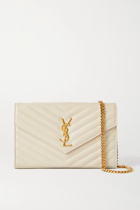 Saint Laurent Envelope Textured-leather Shoulder Bag - Off-white