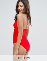 South Beach Embroidered Tape Back Swimsuit