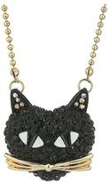 Betsey Johnson Black Pave Cat Pendant Necklace