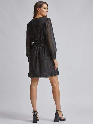 Dorothy Perkins Foil Wrap Dress - Black/Gold