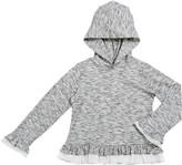 Design History Girls Girl's Hatchi Heathered Ruffle Trim Hoodie, Size 2-6X