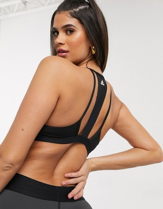 adidas Training 3 stripe bra in black