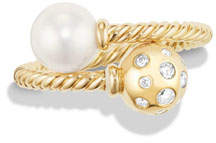 David Yurman Solari 18K Bypass Ring with Pearl & Diamonds, Size 7