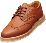 XiaoYouYu Men's Wing Tip Oxfords Two Tone Brogue Lace Up Dress Shoes