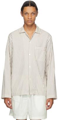 Tekla White and Brown Striped Pyjama Shirt