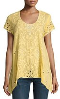Johnny Was Wicktoria Georgette Eyelet Top, Soft Citron, Plus Size