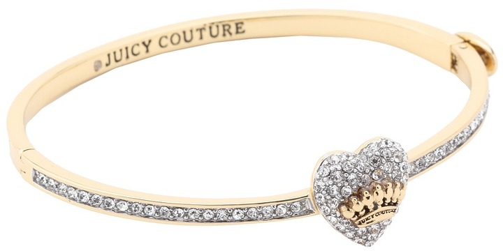 Juicy Couture Pave Heart Hinge Bangle (Gold) - Jewelry