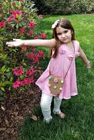Gurly Bird Light-Pink-Rosette-Neckline-Swing-Tunic