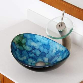 Elite Hand Painted Watercolor Boat Glass Oval Vessel Bathroom Sink Drain Finish: Brushed Nickel