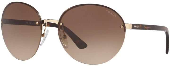 Prada PR 68VS Women's Heritage Oval Sunglasses, Gold/Brown