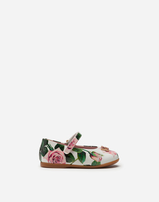 Dolce & Gabbana Mary Jane Ballerina Shoes In Patent Leather With Tropical Rose Print