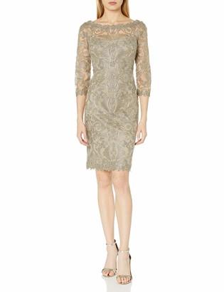 Tadashi Shoji Women's Corded Lace-v-Back Detail-3/4 SLV Dress