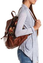 Charlotte Russe Floral Print Canvas Backpack