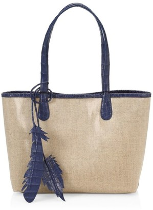 Nancy Gonzalez Small Erica Crocodile-Trimmed Linen Tote