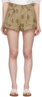 Chloé Brown Monogram Cuffed Shorts
