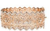 BIJOUX BAR Jardin Rose-Tone Pointed Edge Floral Hinge Bangle Cuffed Bracelet