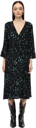 Ganni Printed Crepe Wrap Midi Dress