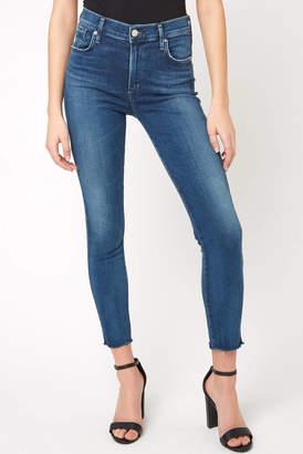 A Gold E Agolde AGOLDE Sophie Hi Rise Skinny Crop Jean in Claremont Medium Denim 24