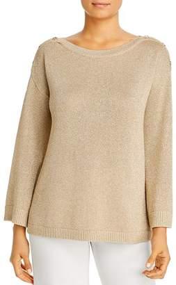 Calvin Klein Metallic Button-Shoulder Sweater