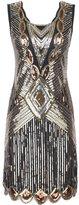 PrettyGuide Women 1920s Gatsby Sequin Art Deco Scalloped Hem Inspired Flapper Dress M