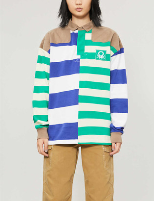 Benetton Striped relaxed-fit stretch-cotton polo shirt