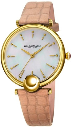 Bruno Magli Miranda 1021 Stainless Steel & Leather-Strap Watch
