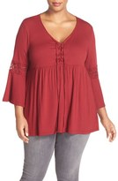 Bobeau Plus Size Women's Lace Inset Bell Sleeve Jersey Top