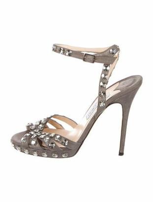Jimmy Choo Suede Crystal Embellishments Sandals Grey