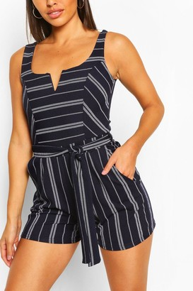 boohoo Striped Notch Neck Belted Playsuit