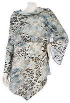 George Simonton Asymmetrical Drape Neck Printed Blouse w/Bell Sleeves