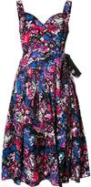 Marc Jacobs glitched floral print pleated dress - women - Cotton/Spandex/Elastane - 4